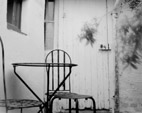 Pinhole of the interior courtyard of the cottage La Fiancée du Pirate in Honfleur